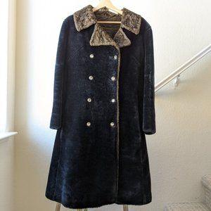 Vintage Faux Fur Coller Fluffy Boa Coat